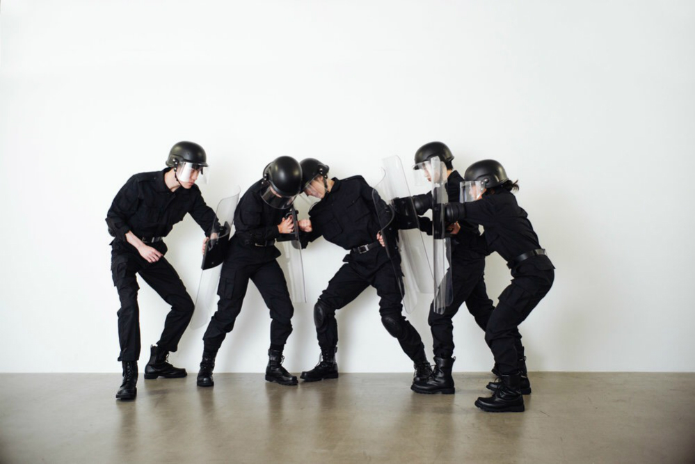 Isaac Chong Wai, Rehearsal of the Futures: Police Training Exercises (2018) Performance and video Commissioned by M+ Museum. Documented at Blindspot Gallery, Hong Kong.