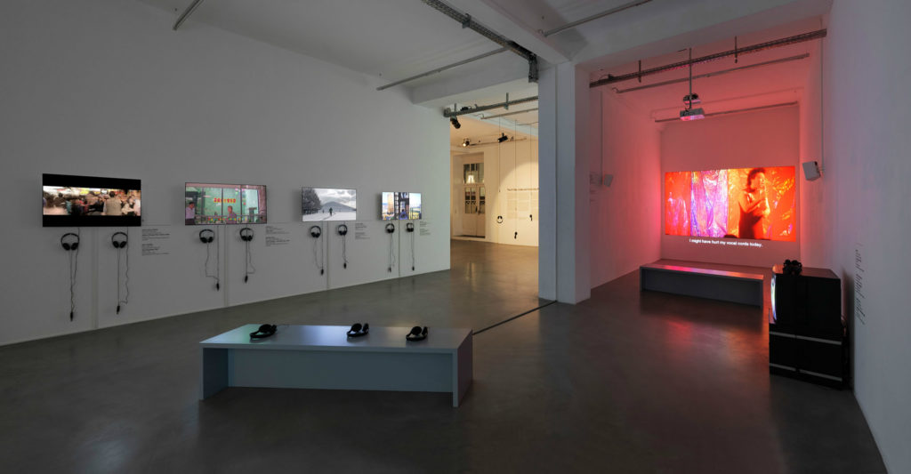 """Installation view """"The D-Tale, Video Art from the Pearl River Delta, Episode I, Times Art Center Berlin."""