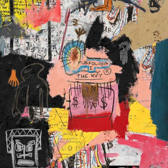 The Key is a mixed media painting tribute to Basquiat